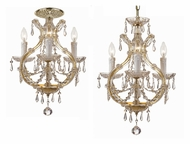 Crystorama 4473-GD-CL-MWP Maria Theresa 21 Inch Tall Gold Finish Convertible Pendant & Ceiling Light