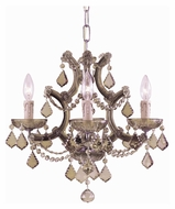 Crystorama 4474-AB-GT-MWP Maria Theresa 4 Candle Golden Teak Crystal 16 Inch Diameter Mini Chandelier