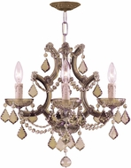 Crystorama 4474-AB-GTS Maria Theresa Antique Brass Mini Chandelier Lamp