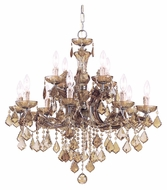 Crystorama 4479-AB-GT-MWP Maria Theresa Antique Brass 30 Inch Diameter Goldean Teak Crystal Chandelier Lighting