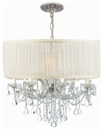 Crystorama 4489CHSAW Brentwood 12-Lamp Chandelier in Polished Chrome with Antique White Shade
