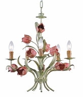 Crystorama 4805-SR Southport 19 inch chandelier in sage green and rose