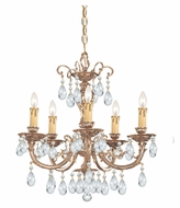 Crystorama 495-OB-CL-MWP Etta Olde Brass Finish Small 20 Inch Diameter 5 Candle Chandelier