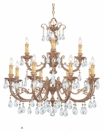 Crystorama 499-OB-CL-MWP Etta Large 32 Inch Diameter 12 Candle Olde Brass Chandelier Light Fixture