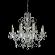 Crystorama 5008-PB-CL-MWP Traditional Crystal 8 Candle Polished Brass Finish 27 Inch Diameter Lighting Chandelier