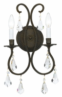 Crystorama 5012-EB-CL-MWP Ashton Traditional English Bronze 2 Candle Wall Sconce