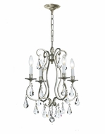 Crystorama 5014-OS-CL-MWP Ashton 16 Inch Diameter Old Silver 4 Candle Mini Chandelier Lighting