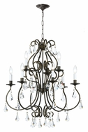 Crystorama 5019-EB-CL-MWP Ashton Large English Bronze 9 Candle Hanging Chandelier - Traditional