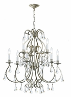 Crystorama 5019-OS-CL-MWP Ashton 25 Inch Diameter Large Old Silver Chandelier Lighting - 9 Candles
