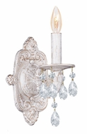 Crystorama 5021-AW-CL-MWP Sutton Clear Crystal 12 Inch Tall Antique White Candle Sconce