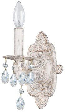 Crystorama 5021-AW-CL-S Paris Market Antique White Candle Wall Light Sconce