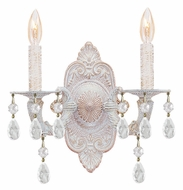 Crystorama 5022-AW-CL-MWP Sutton Antique White 2 Candle 15 Inch Tall Lamp Sconce - Clear Crystal