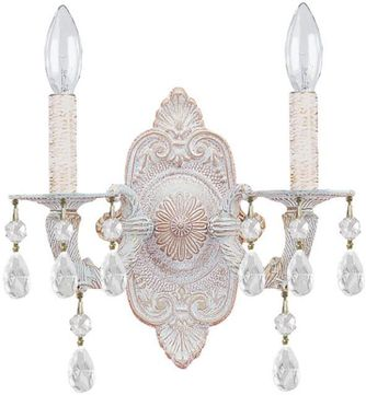Crystorama 5022-AW-CL-SAQ Paris Market Antique White Candle Sconce Lighting