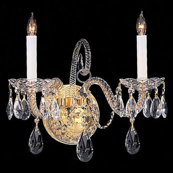 Crystorama 5042-PB-CL-MWP Traditional Crystal Polished Brass Candle Lighting Wall Sconce