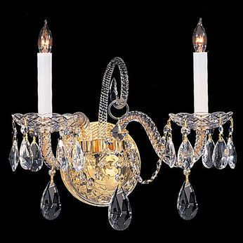 Crystorama 5042-PB-CL-S Traditional Crystal Polished Brass Candle Wall Lighting Sconce