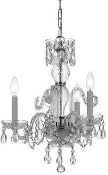 Crystorama 5044-CH-CL-S Traditional Crystal Polished Chrome Mini Chandelier Lamp