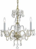 Crystorama 5044-PB-CL-S Traditional Crystal Polished Brass Mini Ceiling Chandelier