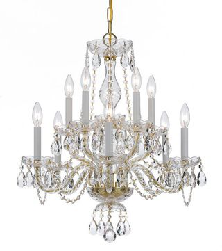 Crystorama 5080-PB-CL-SAQ Traditional Crystal Polished Brass Ceiling Chandelier