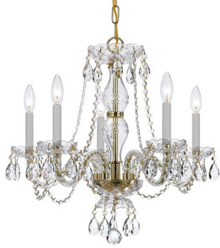 Crystorama 5085-PB-CL-MWP Traditional Crystal Polished Brass Mini Lighting Chandelier