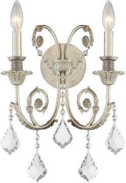 Crystorama 5112-OS-CL-MWP Regis Olde Silver Candle Wall Sconce Light