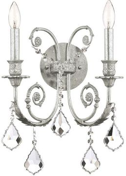 Crystorama 5112-OS-CL-SAQ Regis Olde Silver Candle Wall Lamp