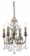 Crystorama 5114-EB-CL-MWP Regis 17 Inch Diameter 4 Candle English Bronze Small Chandelier Light