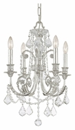 Crystorama 5114-OS-CL-MWP Regis Traditional 17 Inch Diameter 4 Candle Olde Silver Chandelier
