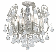Crystorama 5115-OS-CL-MWP Regis Semi Flush Mount 6 Lamp Olde Silver Ceiling Light Fixture