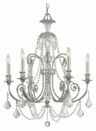 Crystorama 5116-OS-CL-MWP Regis Medium Olde Silver Finish 26 Inch Diameter Ceiling Chandelier - 6 Candles