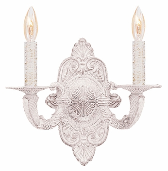 Crystorama 5122-AW Paris Flea Market 12 Inch Tall 2 Candle Antique White Light Sconce