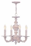 Crystorama 5124-AW Sutton 13 Inch Diameter Antique White Finish Mini Chandelier Lamp - 4 Candles