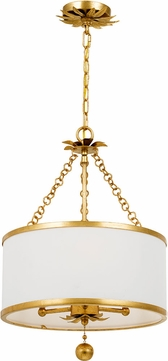 Crystorama 513-GA Broche Antique Gold Drum Hanging Pendant Light