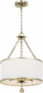 Crystorama 513-SA Broche Antique Silver Drum Pendant Hanging Light