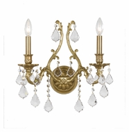 Crystorama 5142-AG-CL-MWP Yorkshire 2 Candle 16 Inch Wide Aged Brass Wall Light Sconce