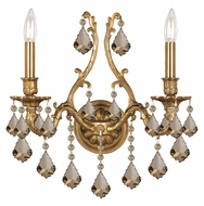 Crystorama 5142-AG-GT-MWP Yorkshire Golden Teak Crystal 2 Candle Lighting Sconce - Aged Brass