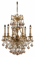 Crystorama 5146-AG-GT-MWP Yorkshire Golden Teak Crystal 6 Candle Aged Brass Chandelier Lamp