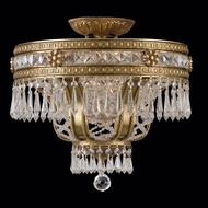 Crystorama 5153-AG-CL-MWP Regal 17 inch crystal semi flush mount in aged brass