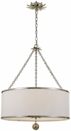 Crystorama 518-SA Broche Antique Silver Drum Ceiling Light Pendant