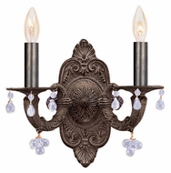 Crystorama 5200-VB-CLEAR Sutton Clear Crystal Venetian Bronze Candle Sconce Lighting