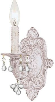 Crystorama 5201-AW-CLEAR Paris Market Antique White Candle Lighting Sconce