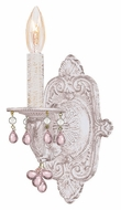 Crystorama 5201-AW-ROSA Sutton Rose Crystal 12 Inch Tall Candle Antique White Wall Lighting
