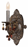 Crystorama 5201-VB-AMBER Sutton Venetian Bronze Finish 12 Inch Tall Candle Wall Light Fixture - Amber Crystal