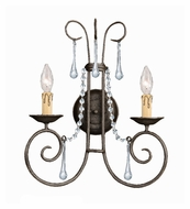 Crystorama 5202-DR-CL-MWP SOHO Dark Rust 17 Inch Tall 2 Candle Clear Crystal Wall Lighting
