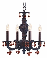 Crystorama 5224-VB-AMBER Sutton Amber Crystal 4 Candle Venetian Bronze Mini Chandelier