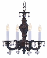 Crystorama 5224-VB-CLEAR Sutton Mini Clear Crystal Venetian Bronze Hanging Chandelier - 4 Candles