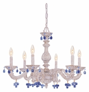 Crystorama 5226-AW-BLUE Sutton 28 Inch Diameter Traditional Antique White Blue Crystal Chandelier - 6 Candles