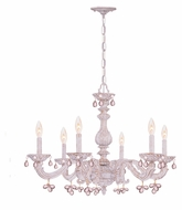 Crystorama 5226-AW-ROSA Sutton Antique White 6 Candle Rose Crystal Lighting Chandelier