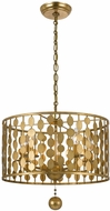 Crystorama 545-GA Layla Modern Antique Gold Drum Pendant Light Fixture