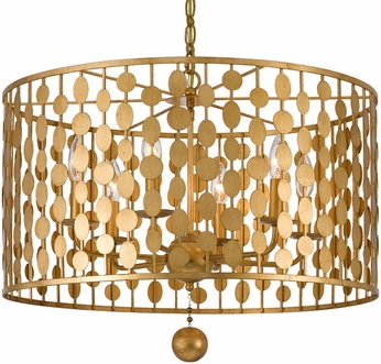 Crystorama 546-GA Layla Contemporary Antique Gold Drum Hanging Light