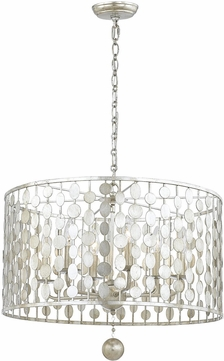 Crystorama 546-SA Layla Contemporary Antique Silver Drum Hanging Pendant Light